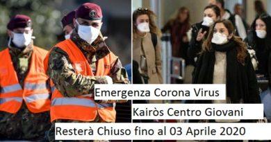 CHIUSURA – Emergenza Corona Virus